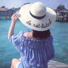 Hot sale wide Brim sun hats for women Letter Embroidery straw Hats girls Do Not Disturb Ladies Straw hats Folding travel cap(China)
