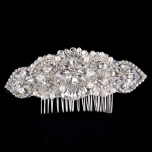 Silver Sparkly Luxurious Big Pearl Bridal Pageant Hair Comb Rhinestone Hair Piece Prom Wedding Hair Jewelry(China)