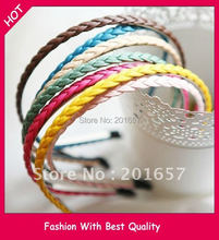 2014 fashion PU leather braid Handmade hairband colorful brand headband hair accessories popular for women and lady(China)