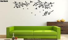 Mad World-Large Tree Branches Birds Silhouette Wall Art Stickers Wall Decal Home DIY Decoration Removable Decor Wall Stickers()