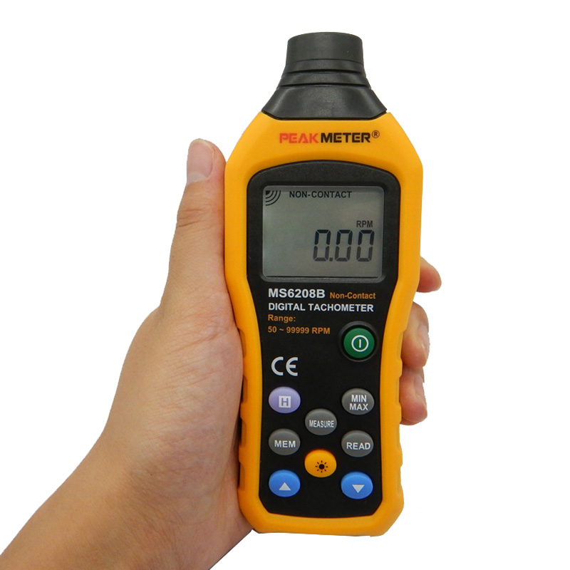 MS6208B 50-250mm Non-contact Measurement Digital Tachometer With 100 Groups Data Logging<br><br>Aliexpress