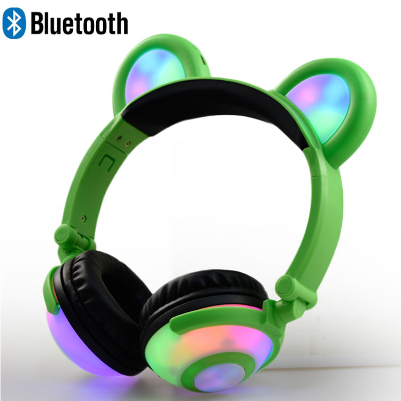 Bluetooth Headphone MIC LED light glowing Bluetooth headset Children's Day gift Cosply Party