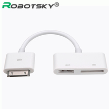 30-Pin 1080P Digital HDMI Cable HD Dock Connector 30pin to AV HDMI Digital HDTV Adapter For iPhone 4 4S iPad 2 3 iPod