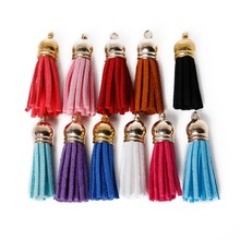 10Pcs 35mm Mixed Suede Leather Jewelry Tassel For Key Chains/ Cellphone Charms Top Plated End Caps Cord Tip Jewelry findings