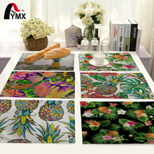 Tropical Plant Pineapple Pattern Table Mat Kitchen Decoration Fashion Place Mat Dining Accessories Table Napkin For Wedding(China)