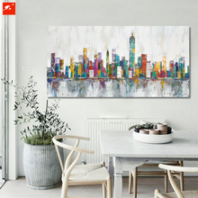 2016 New York Skyline Cityscape Architecture Vivid Abstract Wall Art  Oil Painting On Canvas Prints Home Room Decoration