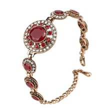 Hot 2017 Bohemian Bracelets For Women Tibetan Alloy Red Resin Gold Color Bangle Retro Turkey Royal Jewelry(China)