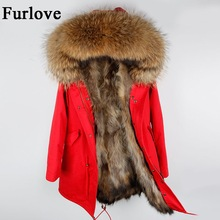 Casual Vintage Long Womens Winter Jacket Women Coat Jackets Natural Raccoon Fur Parka Real Fur Parkas Vintage Warm Thick Coats(China)