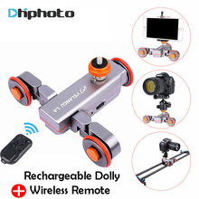 Yelangu DSLR Motorized Electric Autodolly Video Pulley Rolling Skater Slider w Remote Control for iPhone Canon Camera Vlogging(China)