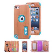Wood Pattern Angel Eye Silicone Hard Case for Apple iPod Touch 5 6 Luxury Heavy Duty Back Full Body Protective Cover for 5th 6th