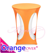 Orange colour spandex cocktail table cover with hole lycra table cloth for wedding banquet party high bar table decoration