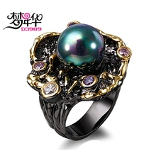 Dreamcarnival1989 Elegant Unique Vintage Rings for Women Purple CZ Bague Black Gold Color Anillos Mujer Created AB Effect Pearl(China)