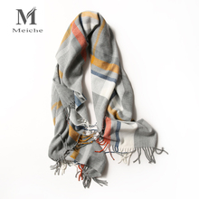 MEICHE Luxury Women Striped 100% Cotton Scarves Korean Soft Long Shawl 180*90cm Ladies Beauty Wraps Scarf Newest 2017(China)