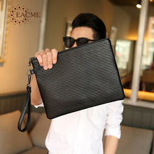 EACME Fashion Srtiped Shopping Fine Fine PU Day Clutches Business Envelope Bag Men Document Briefcase Handbag Wristlet Bag Black(China)