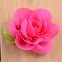 30 color embellishments 6CM DIY chiffon flowers without clip,chiffon fabric flower with leaf,DIY flowers for headbands