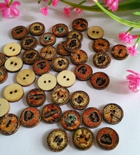 50pcs/lot flower mix wooden Decorative buttons wood crafts scrapbooking home decor gift sew buttons 15mm(China)