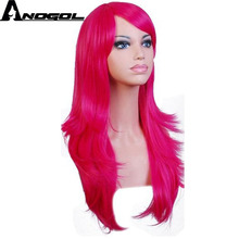 Anogol Side Part Long Body Wave Little Pony Ponytail Style Rainbow Dash Pink Yellow Blue Purple Synthetic Hair Cosplay Wigs(China)