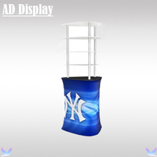 Premium Trade Show Booth Tension Fabric Triangular Counter With Acrylic Display Shelves,Exhibition Advertising Promotion Table(China)