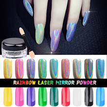 New Top Quality 1g/Box Rainbow Shinning Mirror Nail Glitter Powder Perfect Holographic Nails Dust Laser Holo Nails Pigment