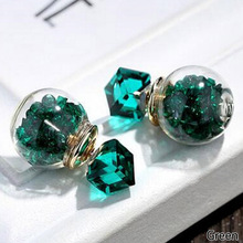 Japan And South Korea Fashion Simple Cube Rhinestone Glass Ball Earrings Spherical New Design Gift Earrings