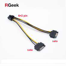 2 SATA Power to 8 Pin (6+2) PCI Express PCI-E Video Card Power Cable Adapter(China)