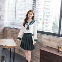 New sailor school uniform long sleeves navy sailor uniform korean japanese girls class service sailor top+skirt for sexy girls(China)
