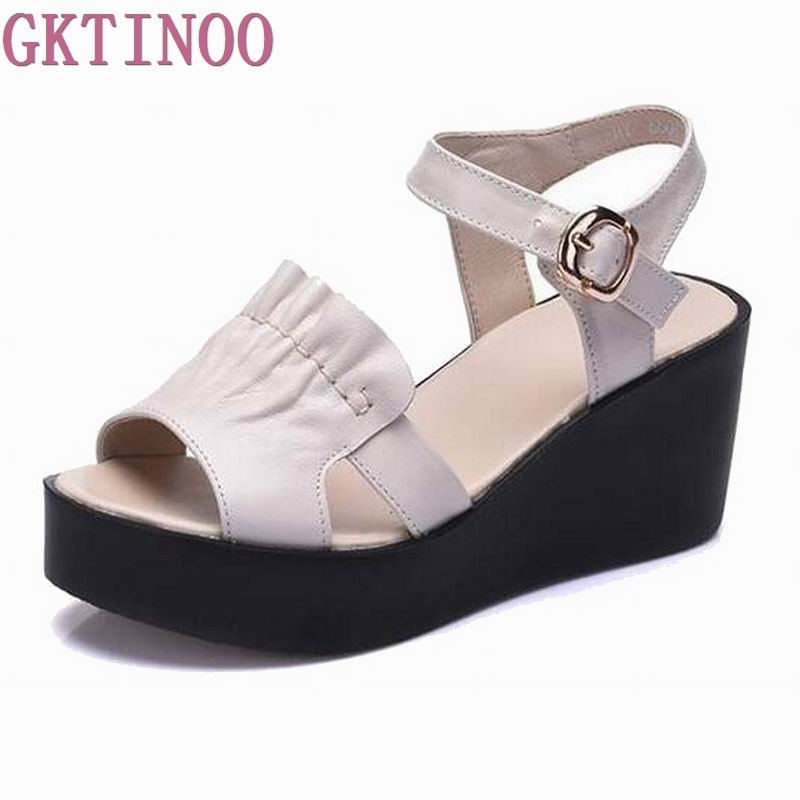 2017 Women Summer Sandals Women Open Toe Sandals Platform Wedges Womens Shoes Genuine Leather Personalized Women Sandals<br>