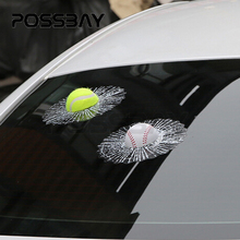 POSSBAY 3D Funny DIY Auto Car Styling Ball Hits Car Side Body Window Windshield Golf Baseball Tennis Car Stickers And Decals