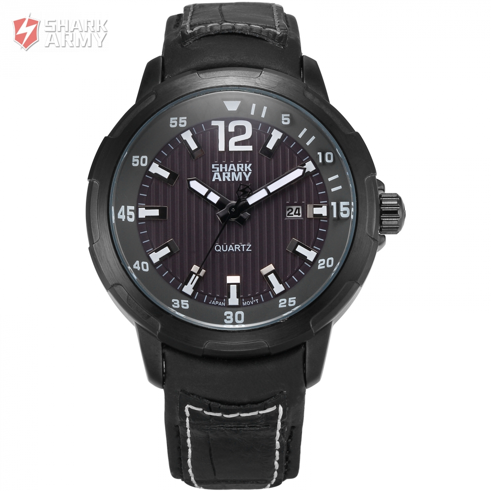 Shark Army Brand Black Dial Auto Date Display Leather Strap Male Military Wristwatches Men Sport Quartz Breitling Watch/ SAW153<br>