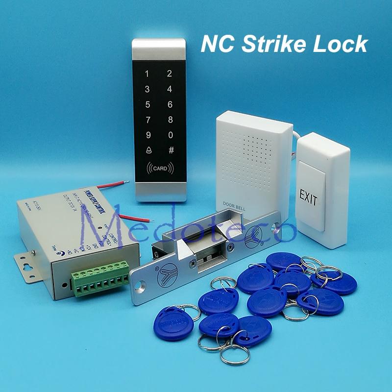 Full Narrow Door Access Control System 125Khz Rfid Card Access Control System Kit +NC Electric Strike Lock + Access Power Supply<br>