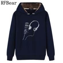 RFBear Brand 2017 new men casual hoodies sweatshirt Music Print trend comfortable pullover thick plus fleece warm  Coat Clothes
