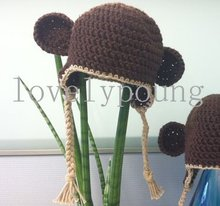 Baby ear hat Monkey hat made of  soft cotton yarn