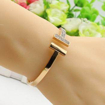 Luxurious Women Double T Bracelet Bangles Gold Color Copper Adjustable Size Bangle Crystal Pulseira Feminina Simulation Jewelry