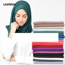 LASPERAL Islamic Hijab Muslim Arab Female Head Coverings Hijabs Scarves Total Covering Turban Women Colorful Headscarf 85x180cm