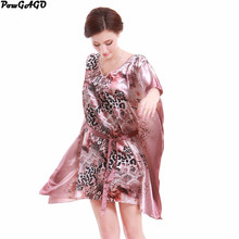 Women Sexy Leopard Nightgowns Plus Size Sleep Dress Nightwear Silk Ladies Home Dress Autumn Styles(China)