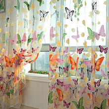 1Pcs Rustic romantic window screening products balcony butterflies tulle curtain panel Free Shipping(China)