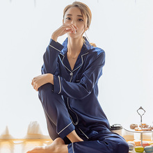 Siriusha01 All Seasons Long Sleeved Silk Pajamas Suit the Maximum Body Weight of 100kg  Silk Represents the Chinese Style