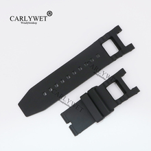 CARLYWET 28mm Wholesale New Style Black Strap Waterproof Rubber Replacement Watch Band Belt Special Popular For III 6043 style(China)