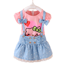 2pcs Girls Dress Summer 2017 Kids Clothes Girls Dresses Hello Kitty Cartoon Lovely Princess Toddler Girl Clothing Sets T569(China)