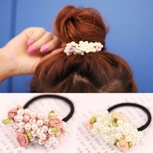 Girls hair accessories rustic small fresh flower beaded pearl headband rubber band tousheng elastic hair bands