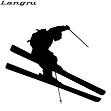 Langru Brave Jump Ski Skier Skis Graphic Car Sticker For Truck Window Vinyl Decal Snow Mountain Christmas Jdm