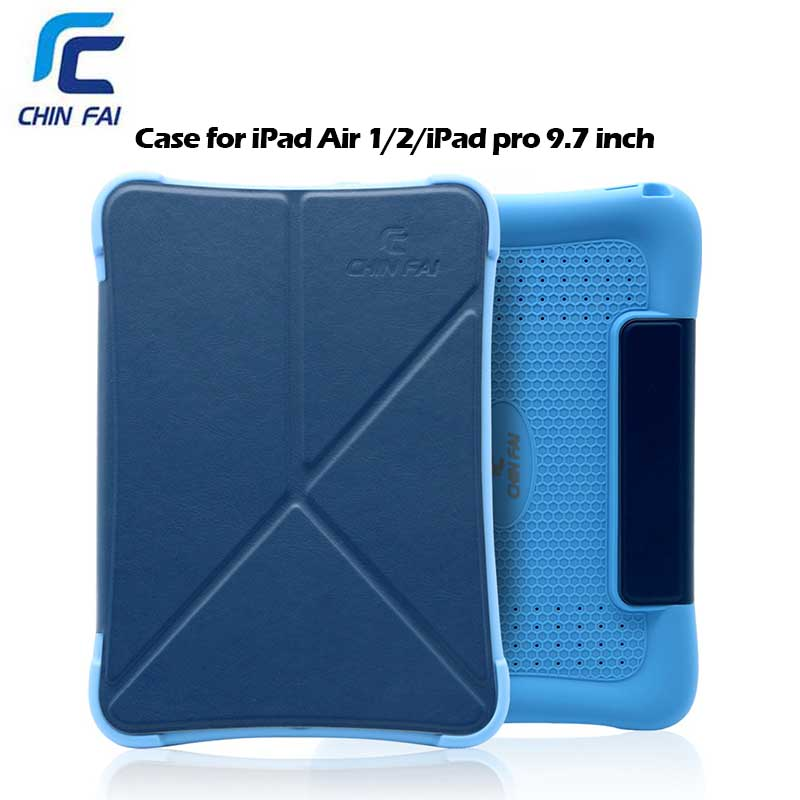 Chinfai Case 2 In 1 Multi Silicon Cover For iPad Pro 9.7 Business PU Leather Case with Wake/Sleep Function for iPad Air 1 2 Case<br>