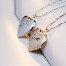 New Fancy Personalized Engraved Love Picture Locket Necklace Heart Shaped Locket Pendant White Gold Photo Lockets For Women