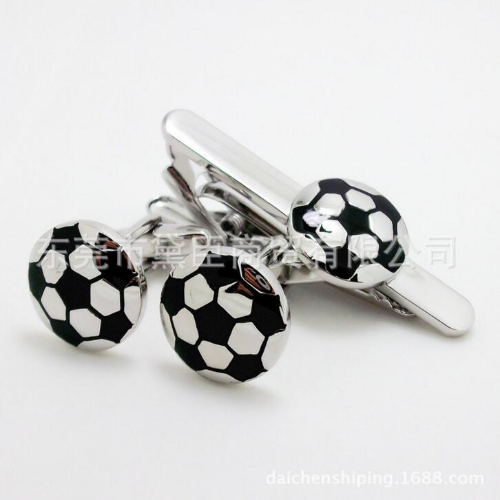 WholeSale 5sets/lot Football Cufflinks + Tie clip sets Black White Soccer cuff button + Tie Bar Sets High Quality Brass Copper