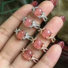 Natural Rhodochrosite Rings for Women Real 925 Sterling Silver Jewelry Wedding Ring 7*9mm Gemstone Twist Band Two Color Choice(China)