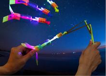 1pcs LED Light Up Slingshot Elastic Arrow Rocket Helicopter Flying Toy Party Fun Gift - Color Random Arrow For Gift(China)