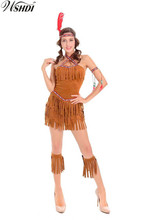 Ladies Pocahontas Native American Indian Wild West Fancy Dress Party Costume Gypsy Savage Hunter Uniform(China)