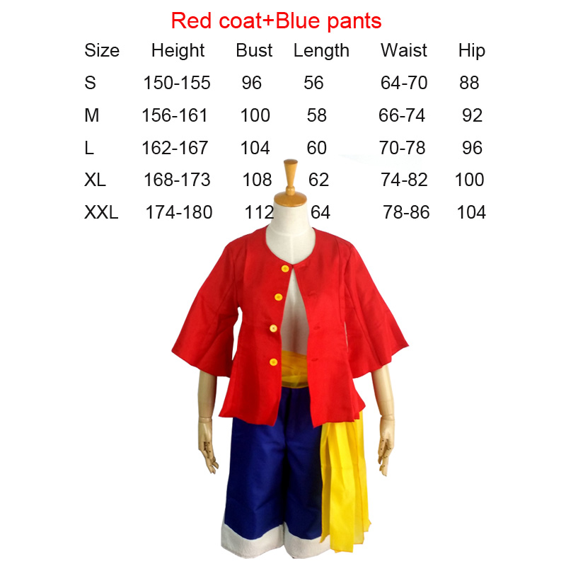 Coshome One piece Monkey D. Luffy Cosplay Costumes Vest Pants Wigs Shoes Summer Clothing Set For Halloween Party Christmas (4)