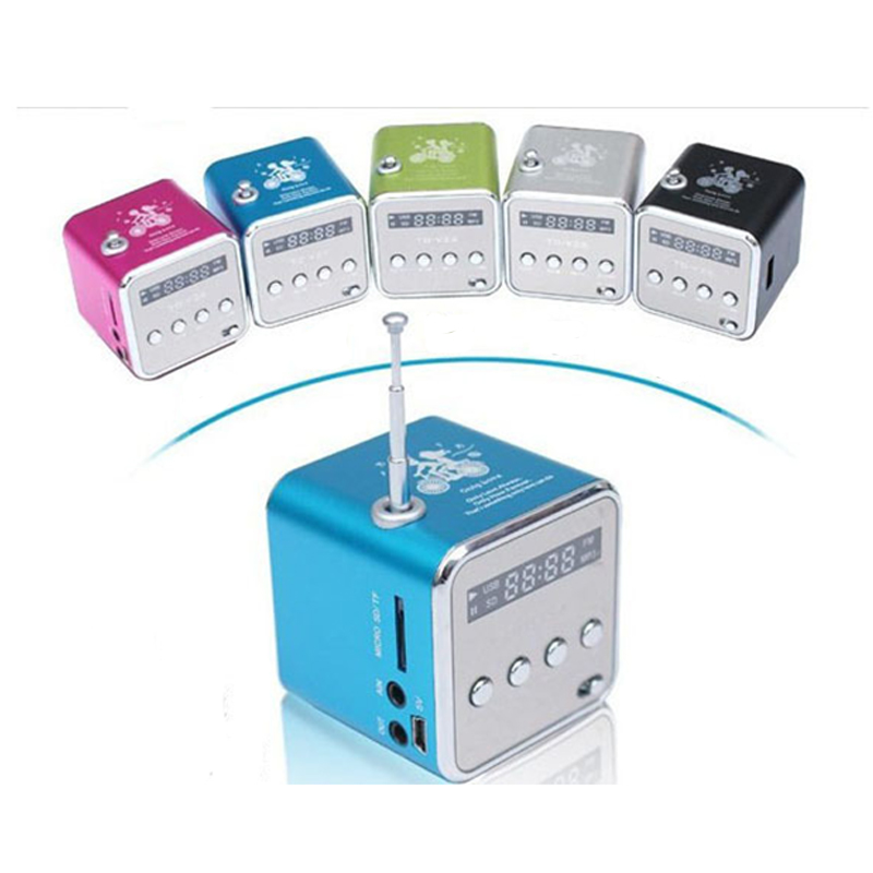 HCQWBING TD-V26 Mini Portable MP3 Player Sound Speaker Digital LCD Sound Micro SD TF FM Radio Music Stereo Loudspeaker