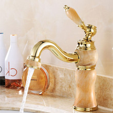 Free shipping Jade stone bathroom mixer tap for European life gold basin sink faucet and solid brass bathroom golden mixer tap